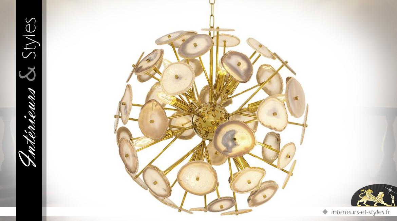 Suspension design dorée avec pierres d'agate Ø 60 cm