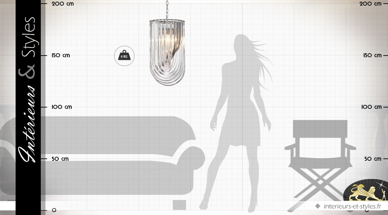 Grande suspension design cristalline style Murano 65 cm
