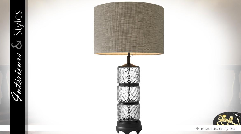 Grande lampe à poser en laiton et verre finition bronze ancien 72 cm
