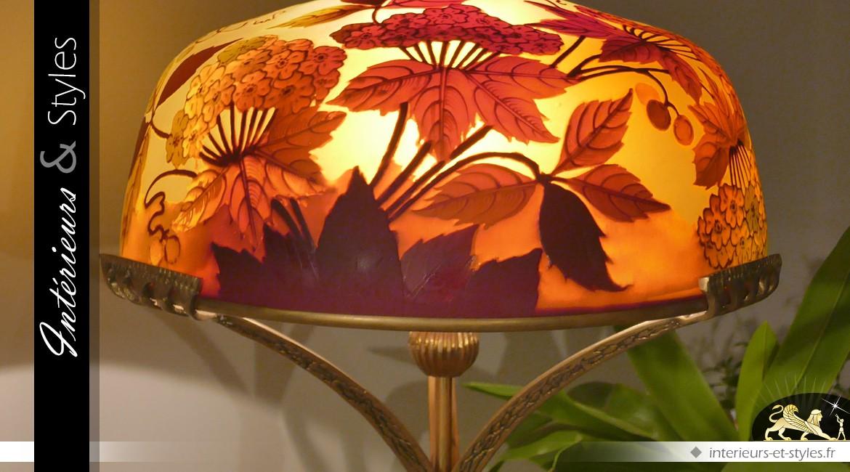 Lampe Ombelle type lampe Gallé pied bronze doré