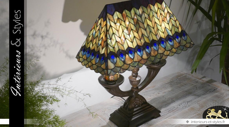Lampe de prestige Tiffany  : oiseau de Junon