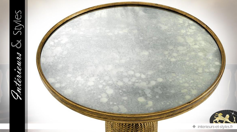 Bout de canapé métal doré en large houppe et miroir circulaire