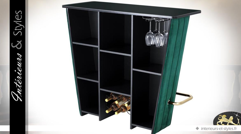 Meuble bar habillage en velours et plateau en verre noir