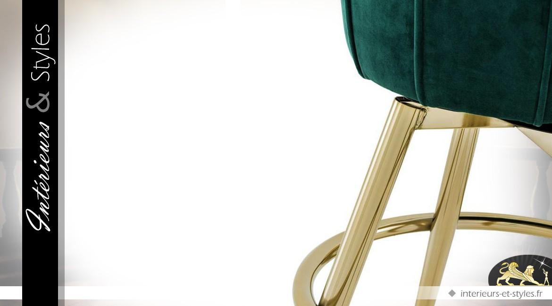 Tabouret de bar vintage velours vert sarcelle et métal doré Champagne