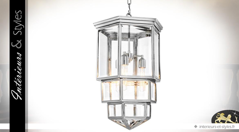 Grande lanterne hexagonale argentée style design 100 cm