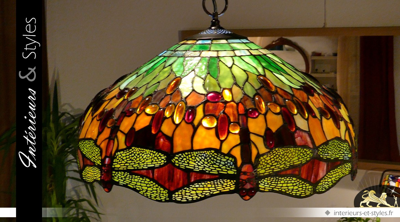 Suspension Tiffany libellules : Beautés ephémères Ø 51 cm