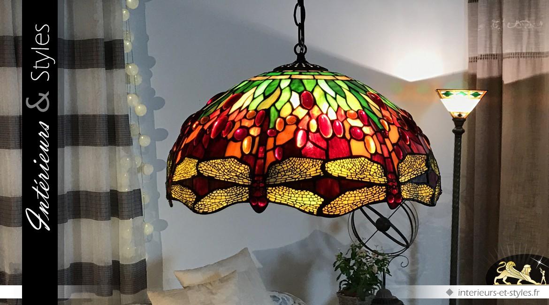 Suspension de style Tiffany : lumineuses libellules Ø 50