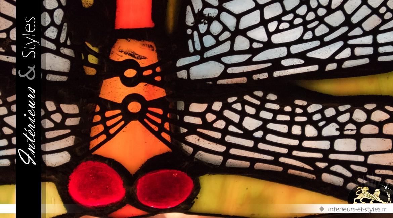 Grande lampe Tiffany : Colibris et libellules 115 cm