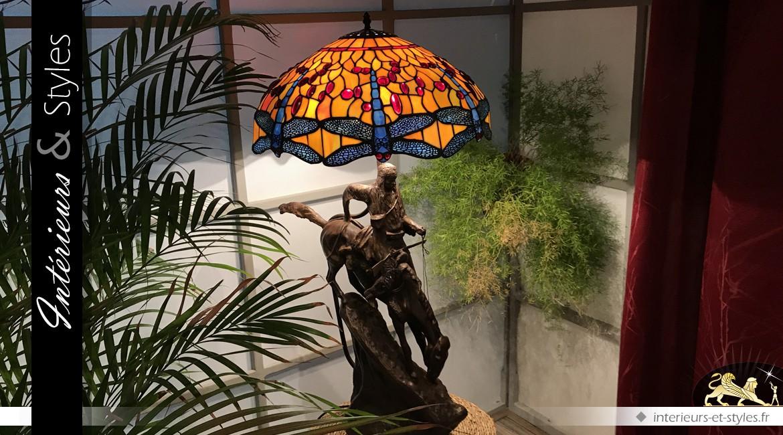 Grande lampe Tiffany : le cavalier du Soleil (103 cm)