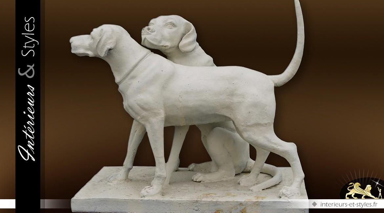 Sculpture finition crème antique 2 chiens de chasse