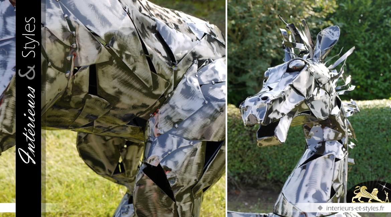 Sculpture en métal cheval cabré argenté 125 cm