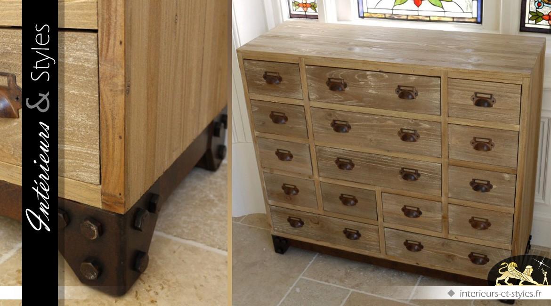 Meuble de métier style brocante à 15 tiroirs
