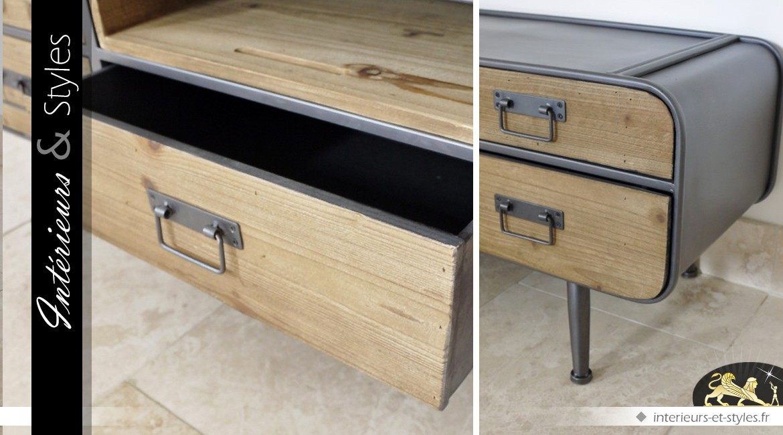 Meuble TV rétro de style industriel bois et métal avec 5 tiroirs