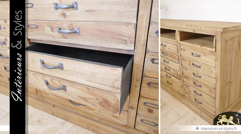 Console style atelier en bois massif à 12 tiroirs