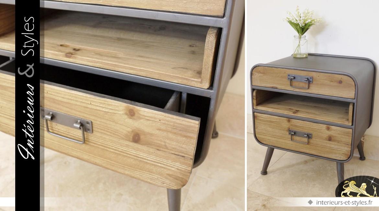 table de nuit en bois et m tal de style industriel et. Black Bedroom Furniture Sets. Home Design Ideas