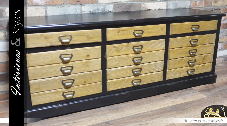 Meuble buffet à tiroirs de style vintage en bois
