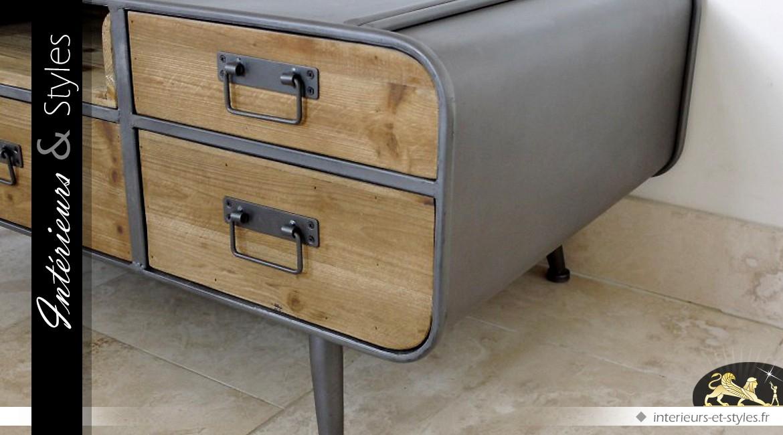 Table basse de style vintage et industriel en bois et métal