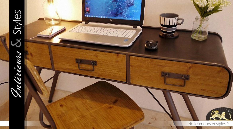 Bureau de style indus et rétro année en bois et métal