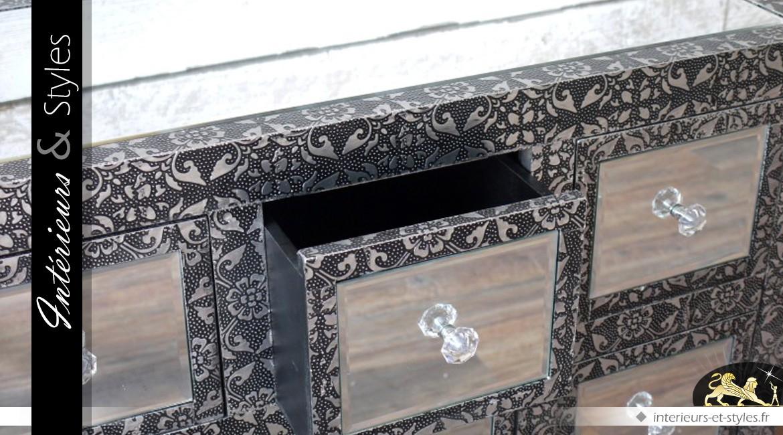 Commode à 9 tiroirs de style marocain avec habillage en miroir