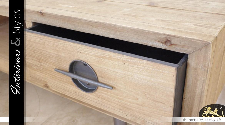Meuble TV en bois finition naturelle de style indus vintage