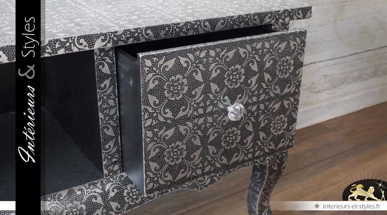 meuble tv de style oriental noir et argent