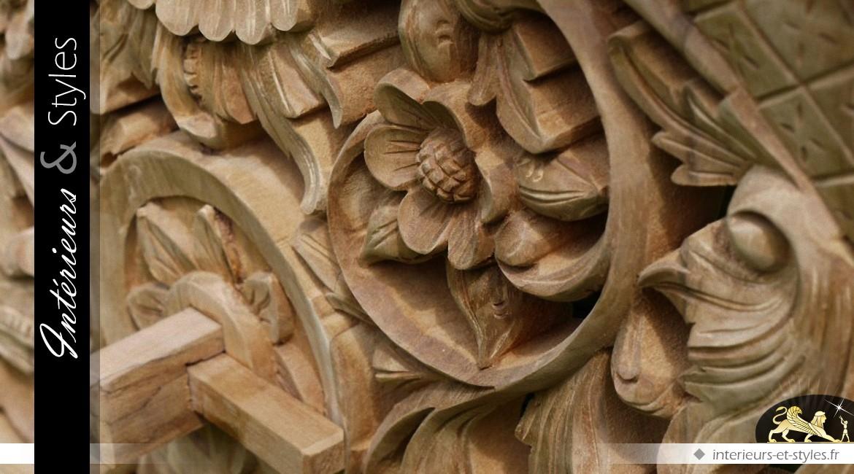 Banc ornemental en teck sculpté à la main