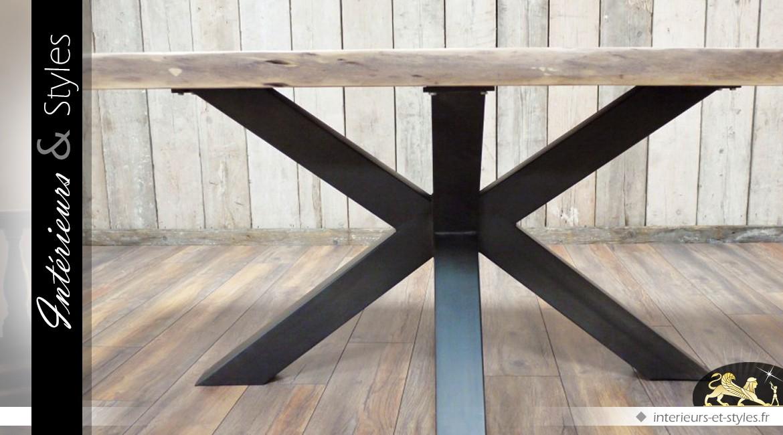 Grande table en acacia massif avec piètement en étoile