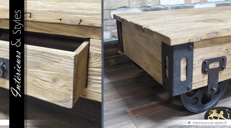 Table basse wagonnet en bois et en métal