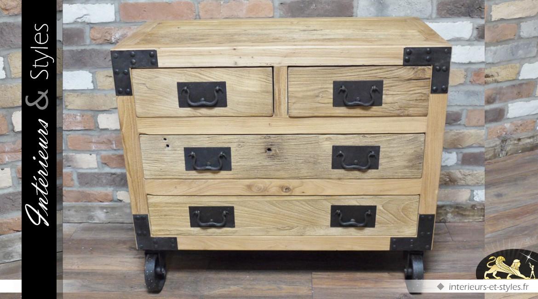 Commode style industriel en bois et métal 4 tiroirs