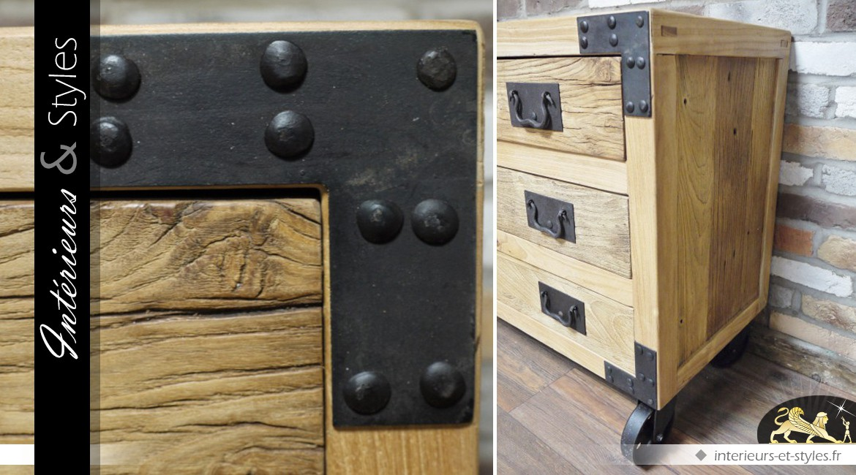 commode style industriel en bois et m tal 4 tiroirs int rieurs styles. Black Bedroom Furniture Sets. Home Design Ideas