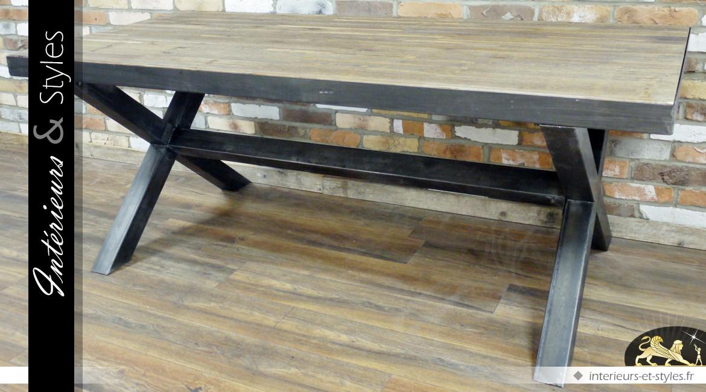 grande table de style industriel en bois massif et mtal vieilli 200 cm