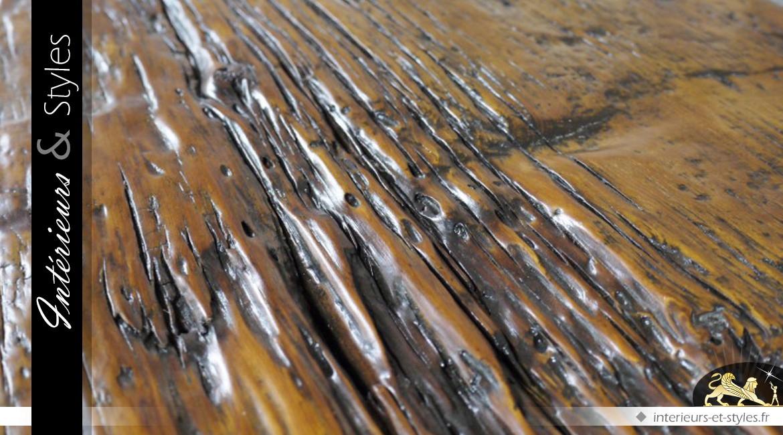Console de style rustique en bois massif et métal 2,4 mètres