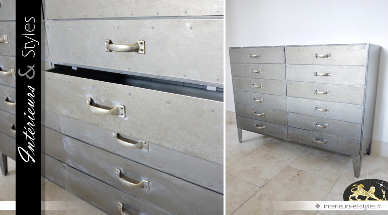 Grand chiffonnier à 12 tiroirs style industriel finition métal