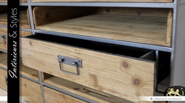 Commode à 4 tiroirs et 4 bacs de style rétro et industriel