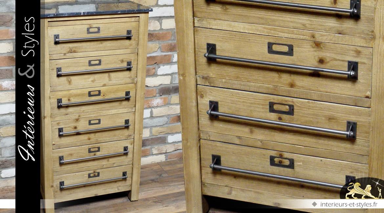 Chiffonnier de style industriel en bois et métal plateau marbre