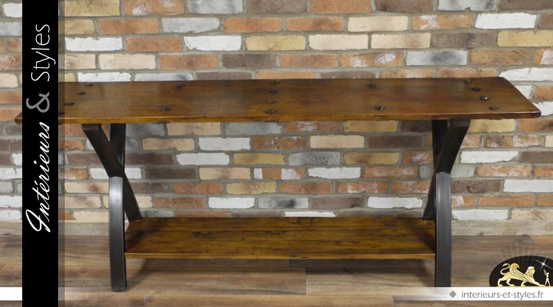 Grande console en bois massif et métal noir de style indus