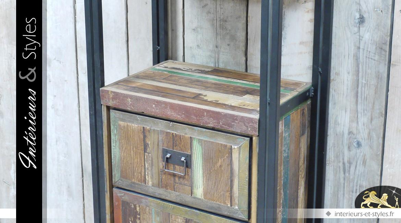 Chiffonnier à 3 tiroirs avec 2 étagères style brocante