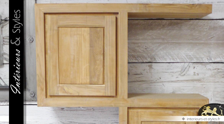 Meuble de bibliothèque en bois massif finition naturelle