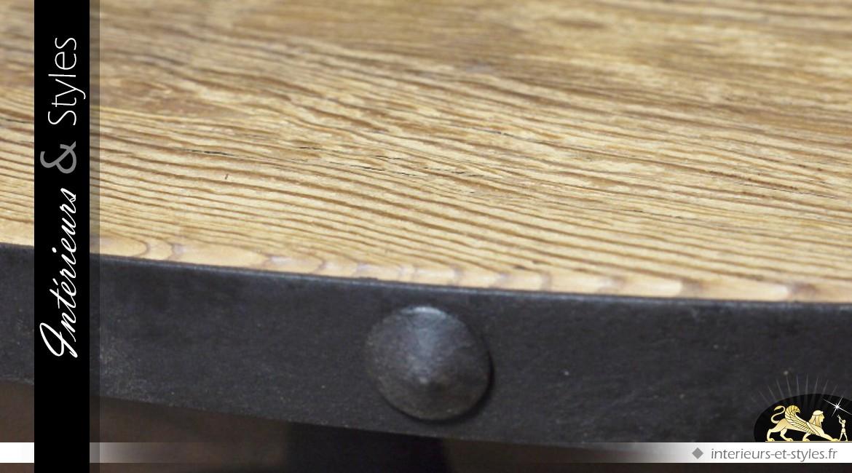 Table basse ovale de style rétro et indus en bois et métal