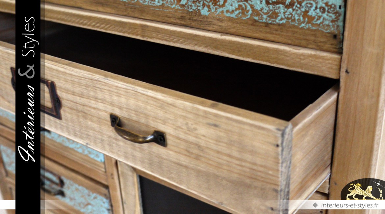 Meuble à tiroirs style industriel et rétro 15 zones de rangement
