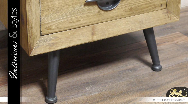 Table de chevet à 2 tiroirs indus vintage en bois massif