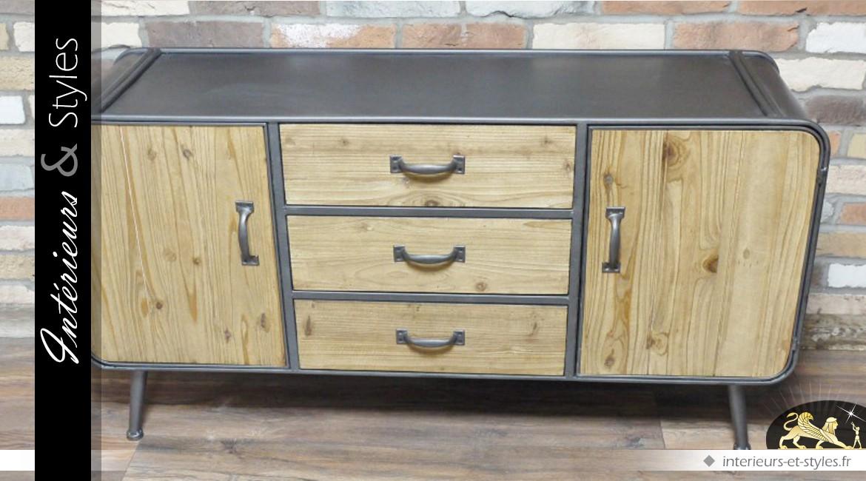 Buffet industriel en bois et en métal avec portes et tiroirs