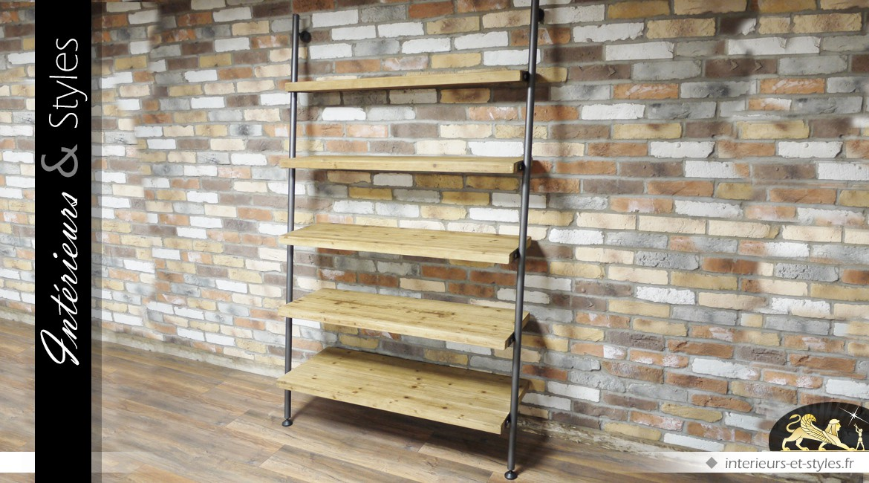 Grande étagère murale à 5 tablettes en bois et métal 200 cm