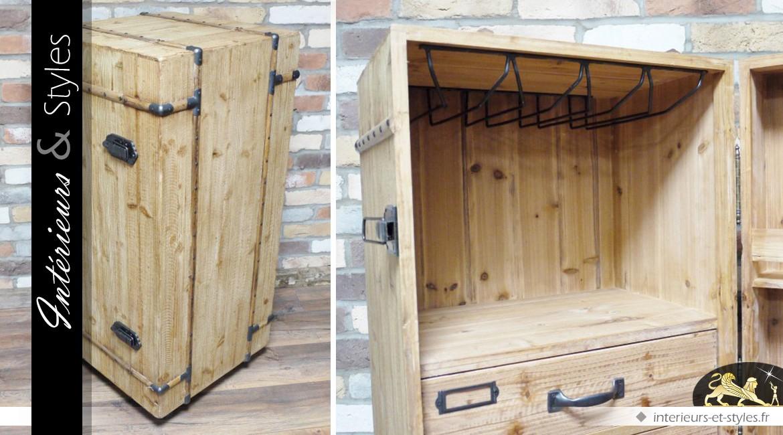 Coffre cave armoire à vin en bois finition brut