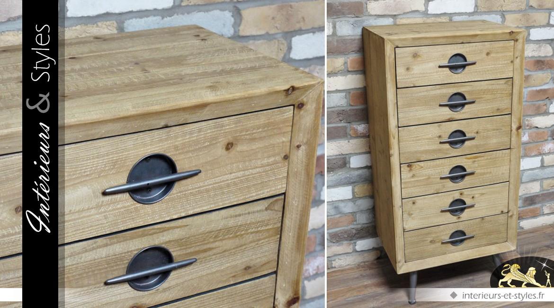 Chiffonnier en bois à 6 tiroirs de style indus vintage
