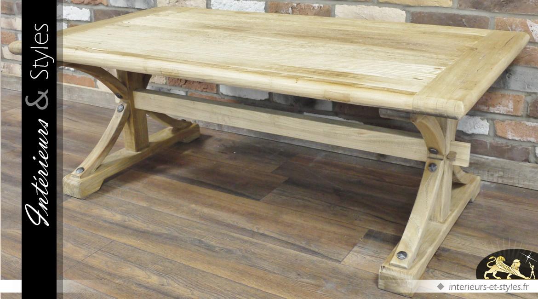 Table basse en bois massif à croisillons