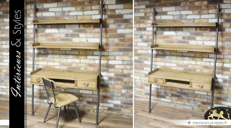 Bureau de style indus et rétro en bois et en métal