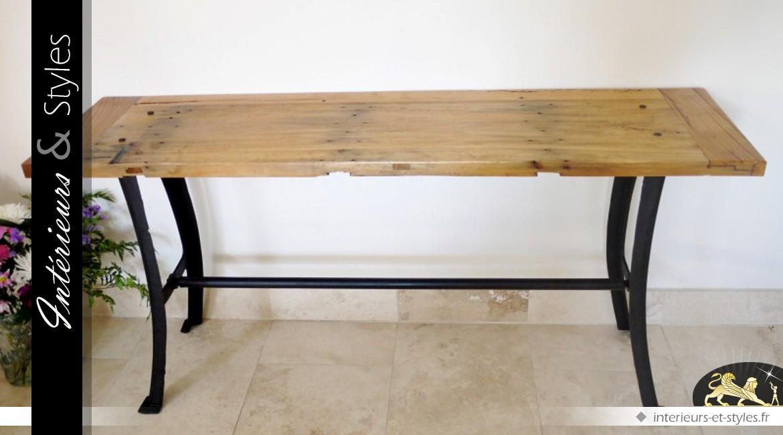 Console table d 39 atelier style industriel bois massif et m tal int rieurs styles - Table atelier industriel ...