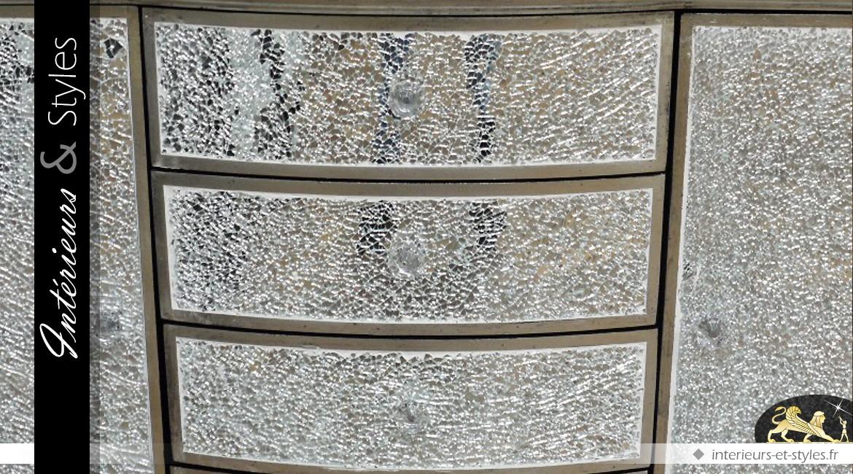 Commode 4 tiroirs et 2 portes style rétro en verre craquelé