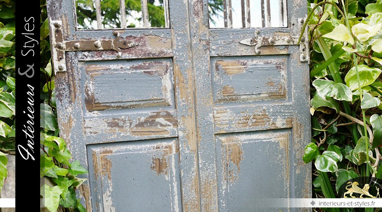 Grande porte miroir de style rustique en bois et fer forgé 180 cm